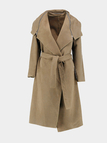 Kahki Lapel Collar Zipper Design Self Tie Belt Trench Coat