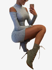 Casual High Neck Cold Shoulder Mini Dress in Grey