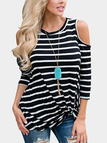 Black Stripe Cold Shoulder Twist Top