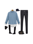 Plus Size Blue Two-in-one Shirt Knitwear