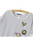 Stripe Pattern Patch T-shirt