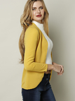 Fashion Yellow Long Sleeves Open Front Cardigan