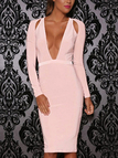 Pink Deep V-neck Long Sleeves Zip Back Midi Dress