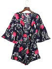 Wrap Front Floral Pattern 1/2 Length Sleeves Playsuit