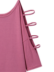 Pink 3/4 Length Sleeve Cold Shoulder T-shirt with Strappy Detail