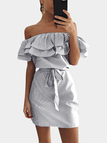 Black Off Shoulder Stripe Pattern Flouncy Details Dress