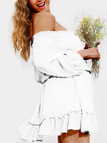 White Lace-up Details Off Shoulder Lantern Sleeves Mini Dress
