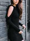 Black Cold Shoulder Ruffle Trim Round Neck Long Sleeves Mini Dress