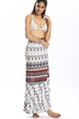 Layered Pattern Self-tie Flounced Hem Maxi Skirt With Tribal Print