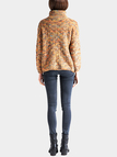 Khaki Roll Neck Sweater In Melange Knit