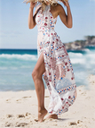 Halter Neck Random Floral Print Open Back Maxi Dress