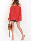Red Off Shoulder Tie-up Hollow Out Long Sleeves Blouse