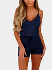 Royal Blue Sexy V-neck Drawstring Waist Playsuit