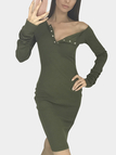 Army Green Sexy V-neck Dress with Button Design