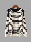 Stripe Pattern Cold Shoulder Round Neck Long Sleeves Knitwear
