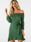 Green Off The Shoulder Bell Sleeves Mini Dresses with Belt