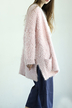 Pink Fluffy Open Front Cardigan