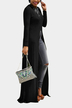 Black Round Neck Long Sleeve Slit Hem Maxi Dress
