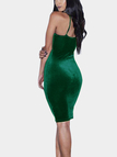 Dark Green Sexy V-neck Velvet Cami Bodycon Dress