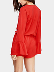 V Neck Bell Sleeve Playsuit in Red