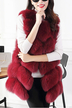 Burgundy Dyed Artificial Fox Fur Vest