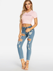 Pink Round Neck JUST PEACHY Letter Print Crop Top