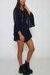 Navy Lace Up Playsuit with Hollow Out Details