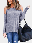 Grey Zip Design Cold Shoulder Long Sleeves Blouses