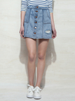 Shredded Rips High Waist Button Denim A-line Skirt