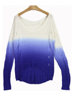 Gradient Design Drop Shoulder Sweater with Rips Details