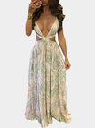 Random Floral Print Sleeveless Back Lace-up Maxi Dress