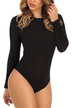 Black Sexy Long Sleeves Crew Neck Bodysuit with Cut Out Details