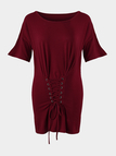 Burgundy Lace-up Short Sleeves Mini Dress