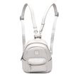 Metallic Croc Leather-look Mini Backpack in Grey