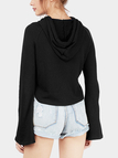 Black Flared Sleeves Drawstring Hoodie
