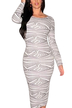 Stripe Printing Back Cut Out Dress in White