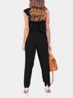 Black Tiered Design One Shoulder Sleeveless Jumpsuits