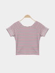 Red Basic Style Stripe Pattern Cross Front Crop T-shirt