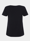 Bodycon V-neck Button-front Design T-shirts in Black