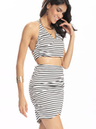 Stripe Pattern V-neck Crop Top & Mini Skirt Co-ord