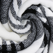 White and Black Wrap Scarf In Check Pattern