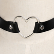 Black Vintage PU Leather Love Heart Choker Necklace Goth Collar Chain H for Women