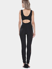 Black Sleeveless Mesh Insert Back Cut Out Jumpsuit