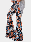 Black Floral Print Flared Long Pants