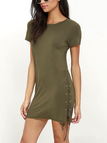 Army Green Round Neck Lace-up Design Dress