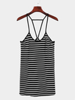 Stripe Pattern Sleeveless Backless V-neck Mini Dress