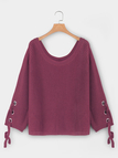Palevioletred Lace-up Sleeves One Shoulder Flared Sleeves Knitted Top