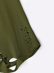 Round Neck Cutout Hollow Design T-shirts in Army Green