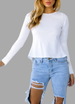White Lace-up Design Backless Long Sleeves T-shirt