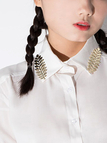 Pure White Shirt with Metal Leaf Decoration